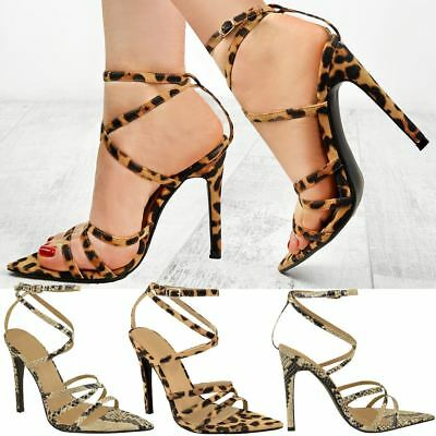 Womens Ladies Leopard Animal Print Strappy Party Sandals Barely There Pointed