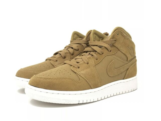 buy online 3e3bb 21b6d Air Jordan 1 Mid Big Kids 554725-725 Golden Harvest Sail Shoes Youth Size 5
