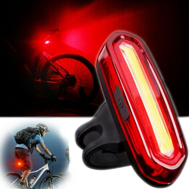 Bike Bicycle Cycling USB Rechargeable Front Rear Light 4 Modes LED Tail Lamp