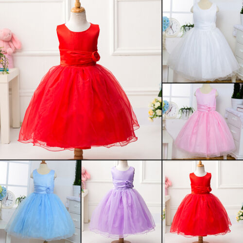 Sleeveless Girls Party Formal Wedding Princess Bridesmaid Christening Dress gN