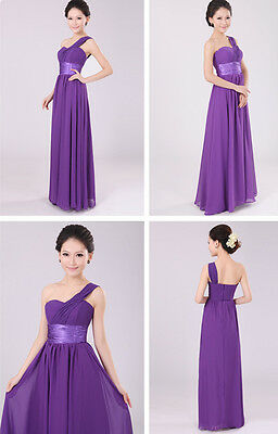 One Shoulder Long Evening Prom Party Wedding Bridesmaids Dress Ball Gown C118