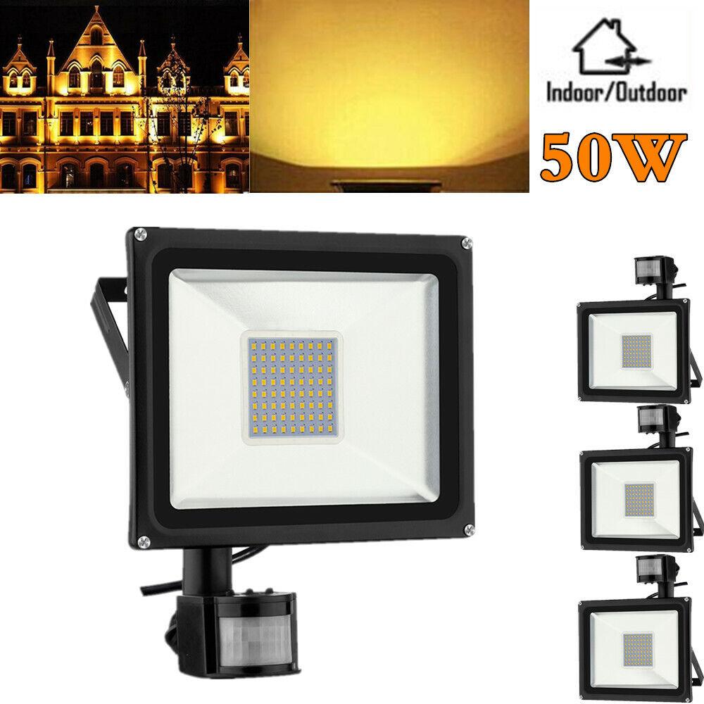 4x 50w LED con PIR detectores de movimiento reflector colocado eh exterior emisor warmweiβ ip65