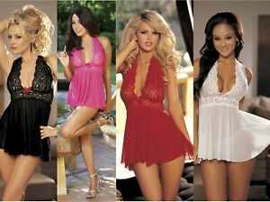 Stretch-Mesh-and-Lace-Halter-Babydoll-G-string-One-Size-Black-Pink-or-Red-96164
