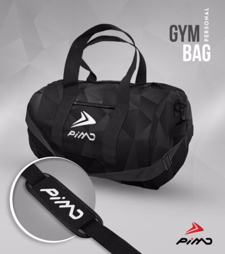 PIMD Personal Gym Bag MENS GYM SPORT HOLDALL BARRELL WOMEN Black Poly Geo