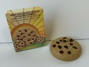 Vintage Avon CHOCOLATE CHIPLICK lip gloss compact cookie In Original Box