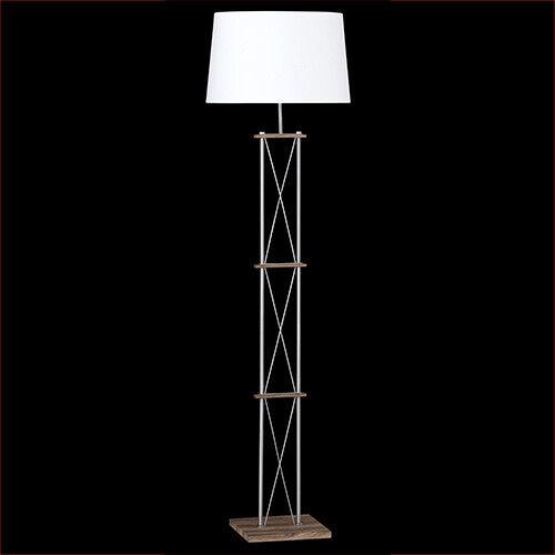 Stehleuchte 160cm 2 flammig E27 Stoffschirm weiß mattnickel Stehlampe Holz Fuß