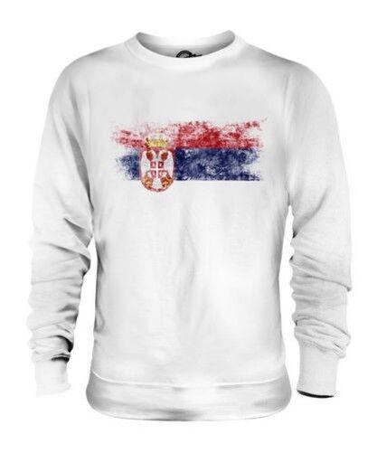 Serbien Distressed Flagge Unisex Pullover Top Srbija Serbisch Shirt Fußball