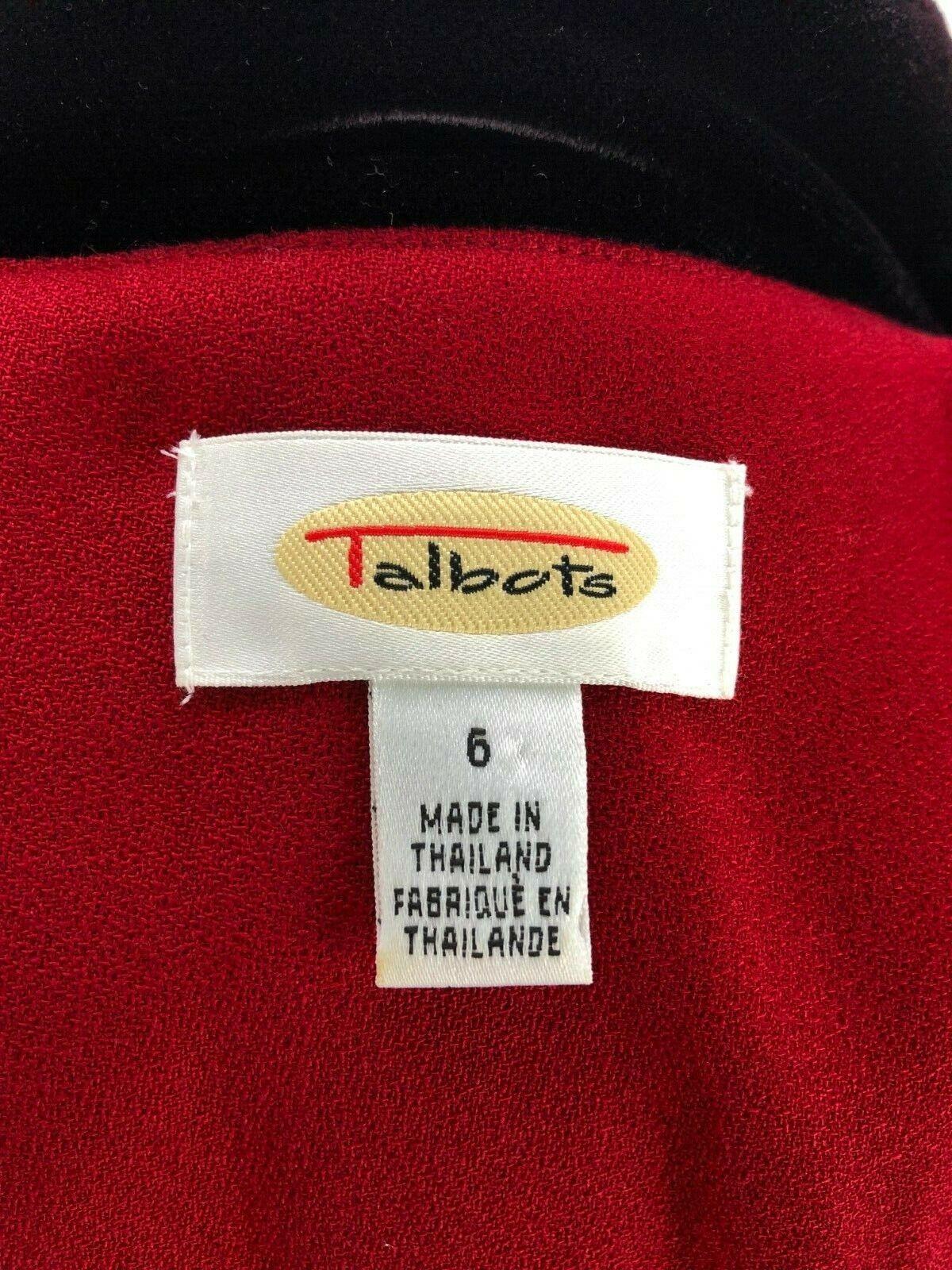 Talbots Women's Red Wool Blazer Velvet Collar 6 - image 5