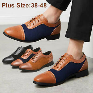 Retro-Men-Lace-up-Oxfords-Matte-Casual-Leather-Business-Formal-Shoes-Pointed-Toe