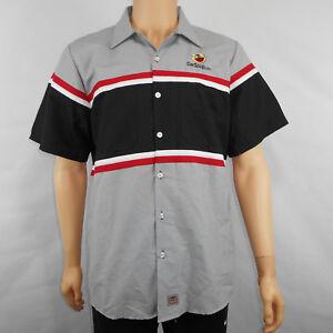 828cbcd307 Red Kap Mens CarSoup.com Button Up Mechanic Striped Work Shirt Size ...