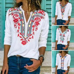 Mode-Femme-Casuel-Loisir-Manche-Longue-Col-V-Imprime-Floral-Haut-Shirt-Plus