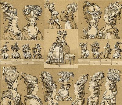 Mode Fashion Coiffure France XVIIIe Siècle Décoration - Chromolithographie