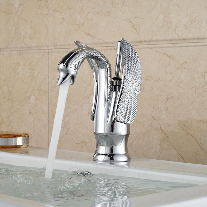 Forma del Cisne Baño Cromado Latón Cuenca sola manija de mezclador del fregadero grifo de agua