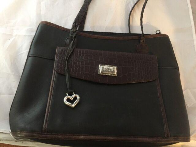 Vintage Brighton Black Brown Croc Embossed Leather Handbag Bag Purse Tote
