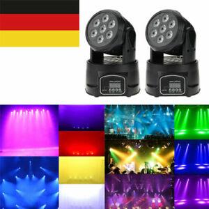 2Stk Lixada 7LED 105W RGBW Moving Head DMX512 Bühnen Licht Wash Effekt 9/14Kanal