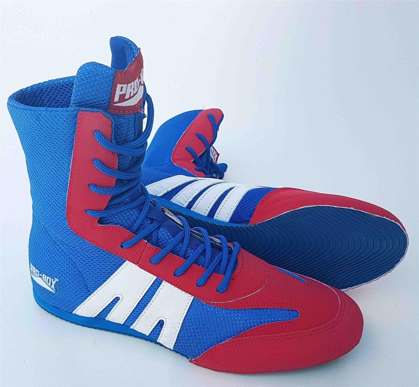 Pro Box Senior Boxing Stiefel Adults Herren daSie Blau rot Training Sparring Schuhe