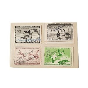 4-Vtg-1950-039-s-Migratory-Bird-Hunting-Stamps-US-Department-of-the-Interior-Used