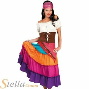 be3c61c989 Details about Ladies Deluxe Romany Gypsy Fortune Teller Fancy Dress Costume  Womens Outfit