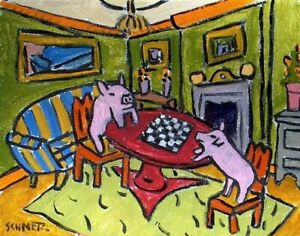 PINK-PIG-art-abstract-folk-pop-ART-picture-13x19-CHESS-CHECKERS-GLOSSY-PRINT