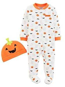 Carters Infant Boys Orange Fleece Halloween Sleeper Pumpkin Sleep /& Play
