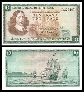SOUTH AFRICA 10 Rand  Banknote (1967) P-114b De Jongh sign Springbok C 395 Pfx