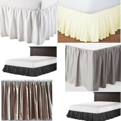 """Ruffle Bed Skirt Split Corner Solid Cotton 625 TC All Size Drop 17/"""" to 21/"""" inch"""