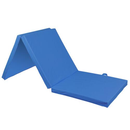 6/'x2/' Thick Soft Tri-Fold Panel GYM Yoga Pilates Fitness Blue Mat Gymnastics Mat