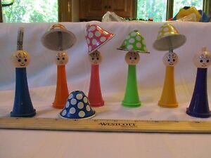 Vintage-Set-6-Child-Guidance-Toy-Mushroom-T-amp-Plastic-Bell-People-6-Colors-MCM