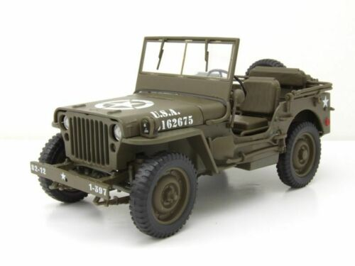 Willys Jeep abierto US Army ejército 1941 verde oliva maqueta de coche 1:18 Welly