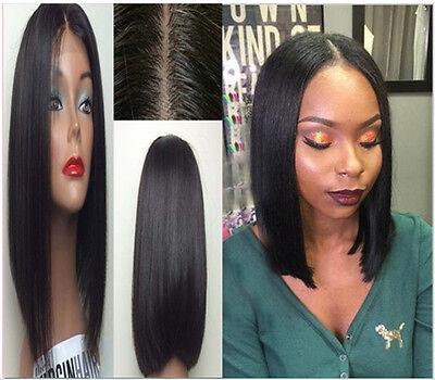 "8"" Middle Part Opening Silky Straight Brazilian Human Hair U Part Bob Wig Black"