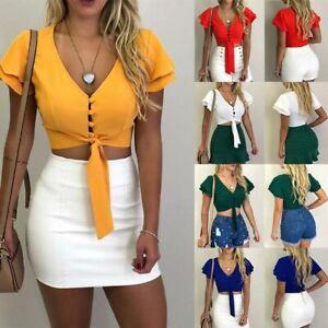 Women-crop-top-shirt-sexy-blouse-tank-top-vest-sleeveless-casual-summer-cami-top