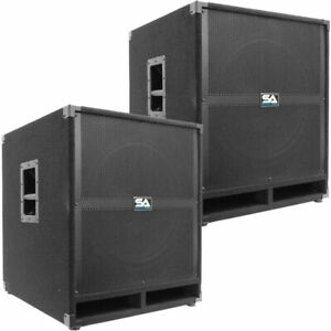 Pair-of-SEISMIC-AUDIO-18-034-PA-POWERED-SUBWOOFER-Active-Speakers-500-Watts-Each