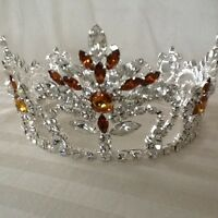 Austrian Crystals Full Round Crown 4  Diameter Base With Amber Emerald