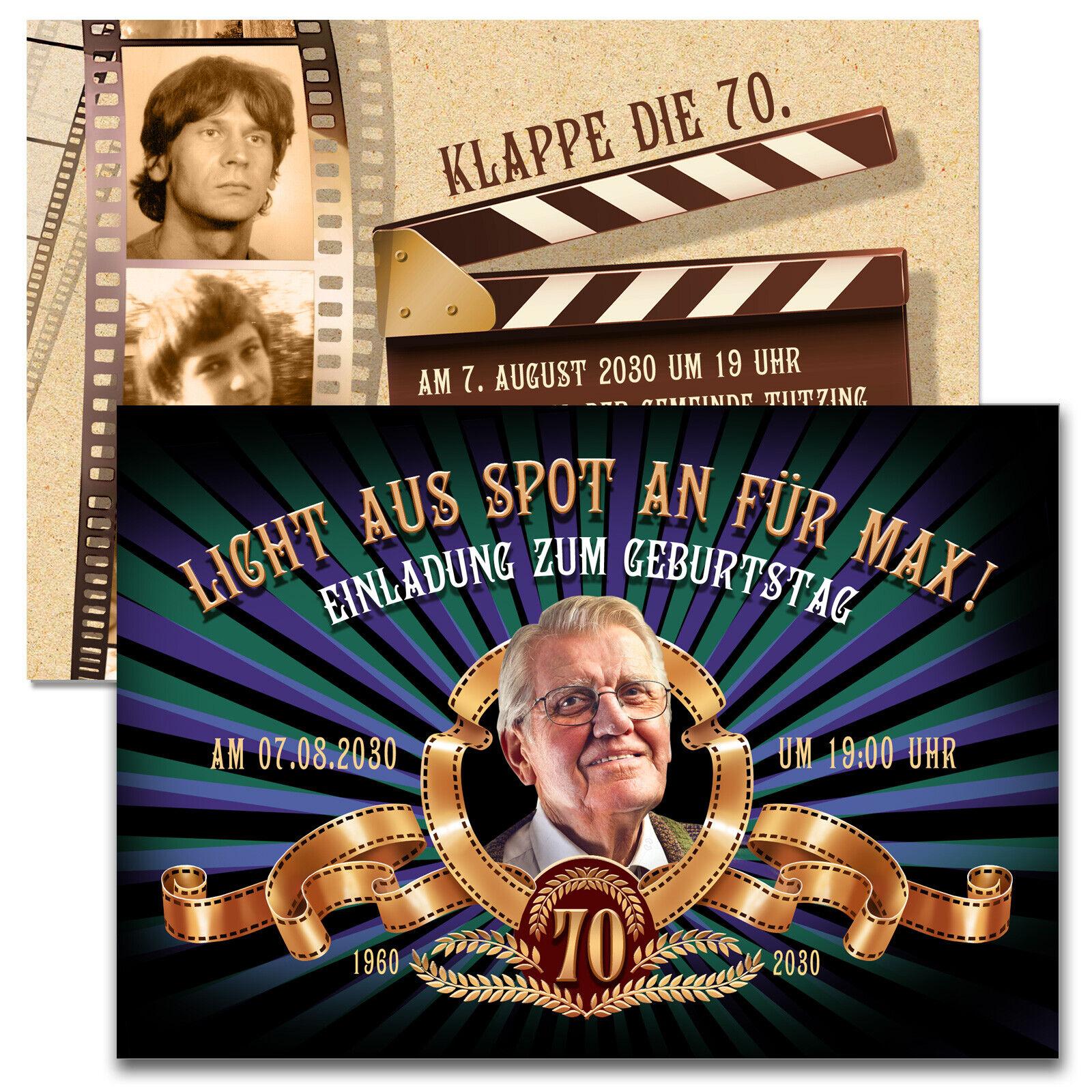 Einladungskarten Geburtstag Filmklappe Filmstreifen mit Ihrem Bildern + Text