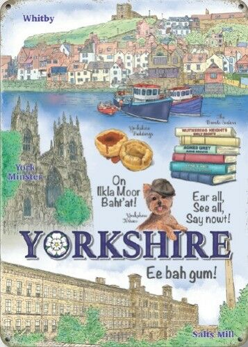 YORKSHIRE WHITBY YORK MINSTER SALTS MILL NOSTALGIC METAL PLAQUE TIN SIGN 1309