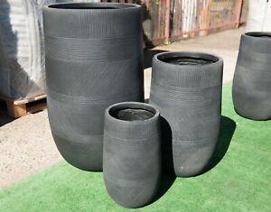 Outdoor-Garden-Patio-Round-Entrance-Planter-Winston-Tall-U-Pot-Java-Black