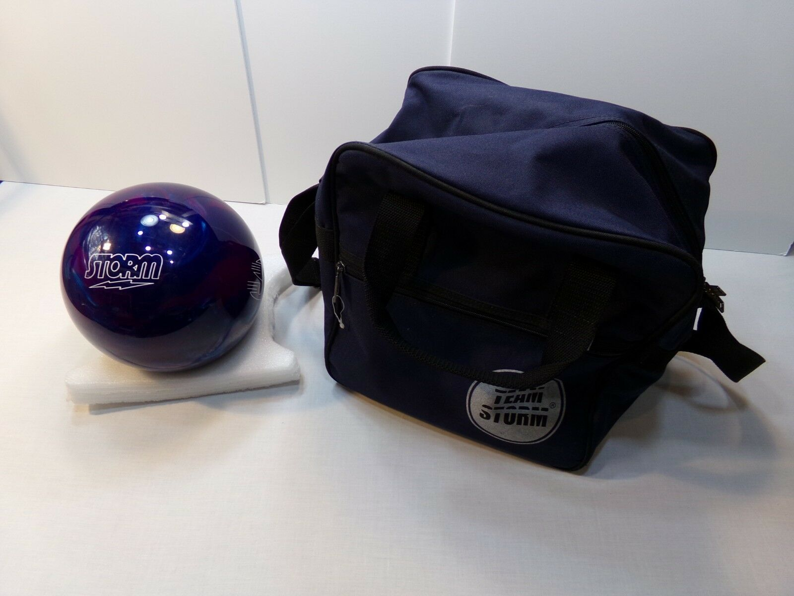 Storm or Team Storm 13.5 Pound Bowling Ball & Bag - New and Never Drilled Out