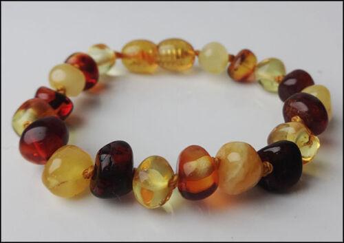 Color Natural Baltic Amber Baby Bracelet Multi