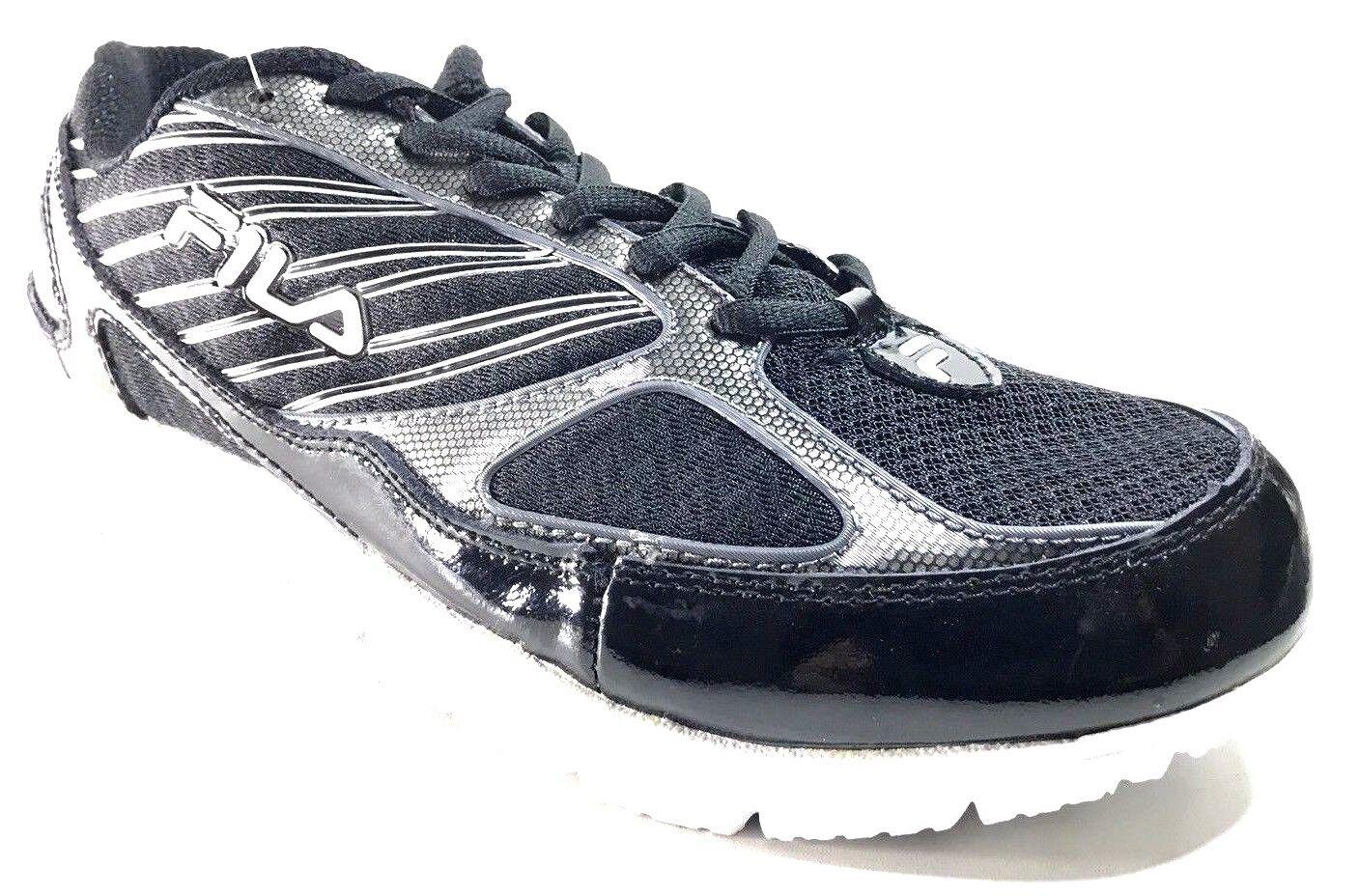 Fila Men's 2A Advanced Running shoes,Black White Metallic Silver,10 M US