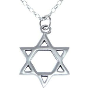 Sterling silver star of david pendant necklace with 18 chain box image is loading sterling silver star of david pendant necklace with aloadofball Image collections