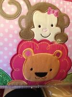 NEW Tiddliwinks Sweet Safari 3PC Baby Girl Crib Bedding Set Monkey Elephant Lion