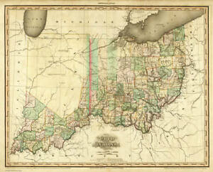 1819 Oh Map Champaign Franklin Licking Pickaway County Van Wert
