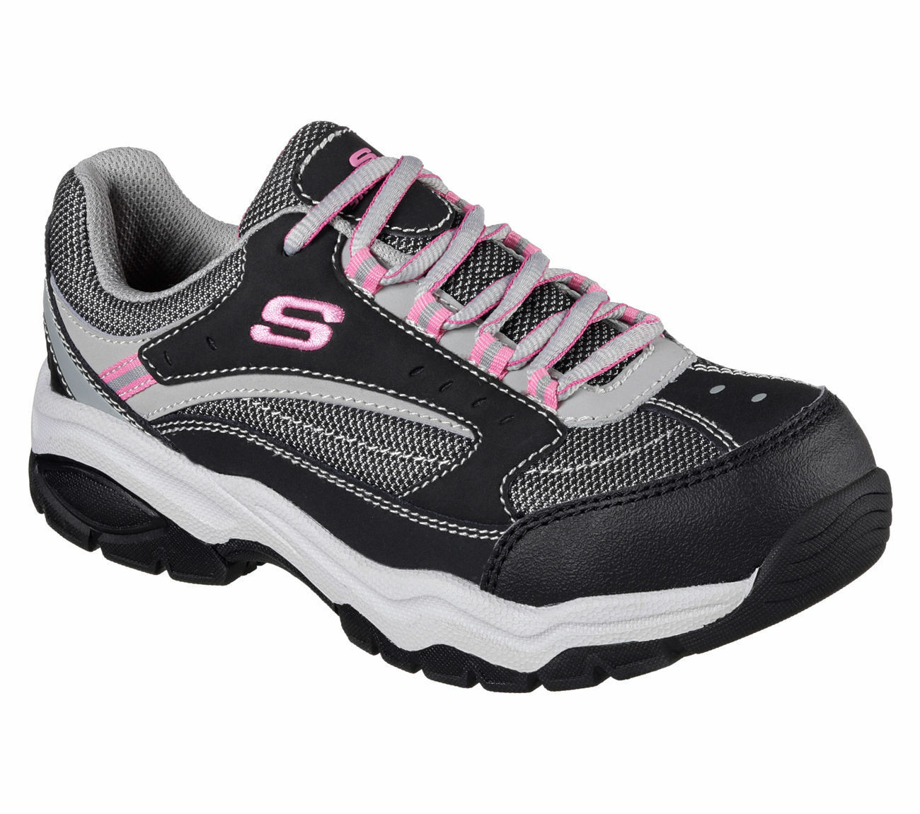76601 Work BKGY Black Gray Skechers Shoes Womens Memory Steel Toe Slip Resistant
