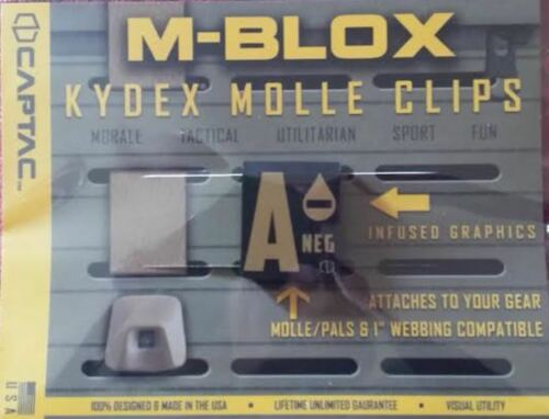 Kydex MOLLE Clip Blood Type Patch All Blood Types and Misc Clips