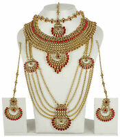 5129 Uk Ethnic Indian Bollywood Gold Plated Jewelry Bridal Necklace Earrings Set