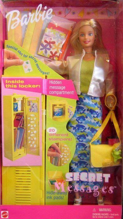 Barbie Secret messaggi nascosti armadietto bambola e accessori vintage 1999