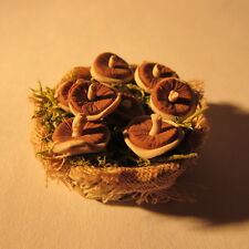 Basket ~ with mushrooms ~ Dolls House Miniature ~ 1/12th scale