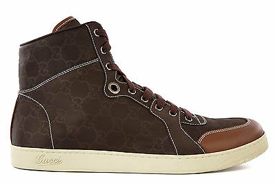 GUCCI MEN'S SHOES HIGH TOP TRAINERS SNEAKERS NEW BROWN  59B