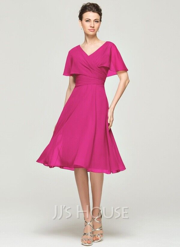 Pink V neck Chiffon Cocktail Dress, size 14 New with tags