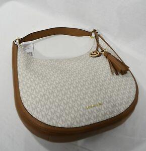 NWT-Michael-Kors-Lydia-Large-Canvas-Hobo-Bag-in-Signature-039-MK-039-Vanilla